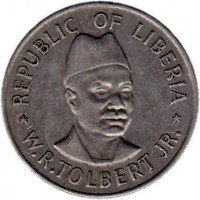 reverse of 50 Cents (1976 - 1987) coin with KM# 31 from Liberia. Inscription: REPUBLIC OF LIBERIA * W.R. TOLBERT JR. *