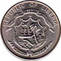 obverse of 5 Cents (2003) coin with KM# 618 from Liberia. Inscription: REPUBLIC OF LIBERIA THE LOVE OF LIBERTY BROUGHT US HERE REPUBLIC OF LIBERIA