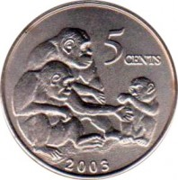 reverse of 5 Cents (2003) coin with KM# 618 from Liberia. Inscription: 5 CENTS 2003