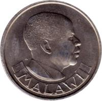 obverse of 20 Tambala (1971 - 1985) coin with KM# 11 from Malawi. Inscription: MALAWI
