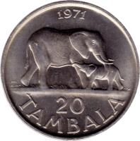 reverse of 20 Tambala (1971 - 1985) coin with KM# 11 from Malawi. Inscription: 1971 20 TAMBALA