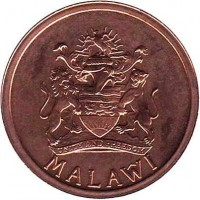 obverse of 1 Tambala (1995) coin with KM# 33 from Malawi. Inscription: MALAŴI