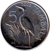 reverse of 5 Tambala (1995 - 2003) coin with KM# 32 from Malawi. Inscription: 1995 5 TAMBALA