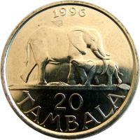 reverse of 20 Tambala (1996 - 2003) coin with KM# 29 from Malawi. Inscription: 1996 20 TAMBALA
