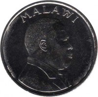 obverse of 10 Tambala (1995 - 2003) coin with KM# 27 from Malawi. Inscription: MALAŴI