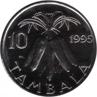 reverse of 10 Tambala (1995 - 2003) coin with KM# 27 from Malawi. Inscription: 10 1995 TAMBALA