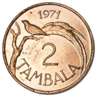 reverse of 2 Tambala (1971 - 1982) coin with KM# 8 from Malawi. Inscription: 1971 2 TAMBALA