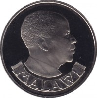 obverse of 10 Tambala (1971 - 1989) coin with KM# 10 from Malawi. Inscription: MALAWI