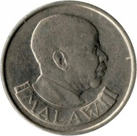 obverse of 20 Tambala (1989 - 1994) coin with KM# 11.2a from Malawi. Inscription: MALAWI