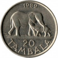 reverse of 20 Tambala (1989 - 1994) coin with KM# 11.2a from Malawi. Inscription: 1989 20 TAMBALA
