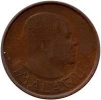 obverse of 1 Tambala (1984 - 1994) coin with KM# 7.2a from Malawi. Inscription: MALAWI