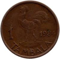 reverse of 1 Tambala (1984 - 1994) coin with KM# 7.2a from Malawi. Inscription: 1 tambala 1991