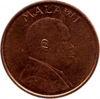obverse of 1 Tambala (1995) coin with KM# 24 from Malawi. Inscription: MALAWI