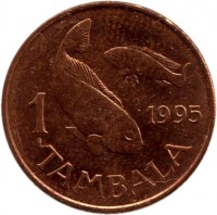 reverse of 1 Tambala (1995) coin with KM# 24 from Malawi. Inscription: 1 1995 TAMBALA
