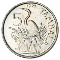 reverse of 5 Tambala (1971 - 1985) coin with KM# 9 from Malawi. Inscription: 5 1971 TAMBALA