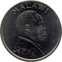 obverse of 5 Tambala (1995) coin with KM# 26 from Malawi. Inscription: MALAWI