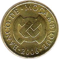 obverse of 10 Centavos (2006) coin with KM# 134 from Mozambique. Inscription: · BANCO · DE · MOÇAMBIQUE · 2006