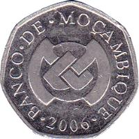 obverse of 1 Metical (2006) coin with KM# 137 from Mozambique. Inscription: BANCO · DE · MOÇAMBIQUE · 2006 ·