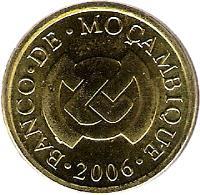 obverse of 20 Centavos (2006) coin with KM# 135 from Mozambique. Inscription: BANCO · DE · MOÇAMBIQUE · 2006 ·