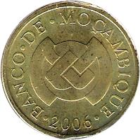 obverse of 50 Centavos (2006) coin with KM# 136 from Mozambique. Inscription: BANCO · DE · MOÇAMBIQUE · 2006 ·
