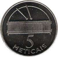 reverse of 5 Meticais (2006) coin with KM# 139 from Mozambique. Inscription: 5 METICAIS