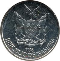 obverse of 10 Cents (1993 - 2012) coin with KM# 2 from Namibia. Inscription: UNITY LIBERTY JUSTICE 1993 REPUBLIC OF NAMIBIA