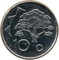 reverse of 10 Cents (1993 - 2012) coin with KM# 2 from Namibia. Inscription: 10 c