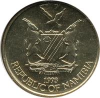 obverse of 5 Dollars (1993 - 2012) coin with KM# 5 from Namibia. Inscription: UNITY LIBERTY JUSTICE 1993 REPUBLIC OF NAMIBIA