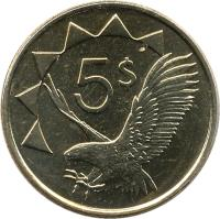 reverse of 5 Dollars (1993 - 2012) coin with KM# 5 from Namibia. Inscription: 5$