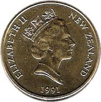 obverse of 1 Dollar - Elizabeth II - 3'rd Portrait (1990 - 1998) coin with KM# 78 from New Zealand. Inscription: ELIZABETH II NEW ZEALAND 1991