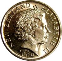 obverse of 50 Cents - Elizabeth II - 4'th Portrait (2006 - 2014) coin with KM# 119a from New Zealand. Inscription: NEW ZEALAND ELIZABETH II 2006