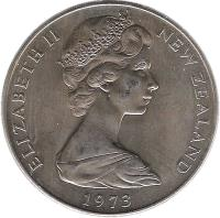 obverse of 1 Dollar - Elizabeth II (1967 - 1976) coin with KM# 38 from New Zealand. Inscription: ELIZABETH II NEW ZEALAND 1976