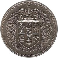 reverse of 1 Dollar - Elizabeth II (1967 - 1976) coin with KM# 38 from New Zealand. Inscription: ONE DOLLAR