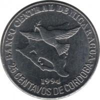 reverse of 25 Centavos (1994) coin with KM# 82 from Nicaragua. Inscription: BANCO CENTRAL DE NICARAGUA 1994 25 CENTAVOS DE CORDOBA