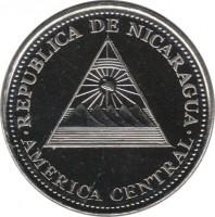 obverse of 1 Córdoba (2002 - 2012) coin with KM# 101 from Nicaragua. Inscription: REPUBLICA DE NICARAGUA AMERICA CENTRAL