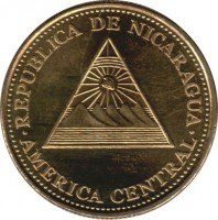 obverse of 10 Centavos (2002) coin with KM# 98 from Nicaragua. Inscription: REPUBLICA DE NICARAGUA AMERICA CENTRAL