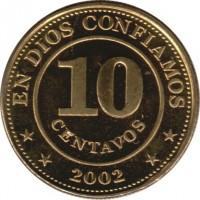 reverse of 10 Centavos (2002) coin with KM# 98 from Nicaragua. Inscription: EN DIOS CONFIAMOS 10 CENTAVOS * * 2002 * *