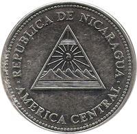 obverse of 5 Córdobas (1997 - 2007) coin with KM# 90 from Nicaragua. Inscription: REPUBLICA DE NICARAGUA AMERICA CENTRAL