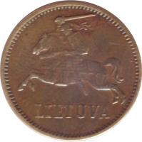 obverse of 2 Centai (1936) coin with KM# 80 from Lithuania. Inscription: LIETUVA