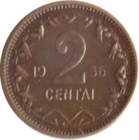 reverse of 2 Centai (1936) coin with KM# 80 from Lithuania. Inscription: 19 2 36 CENTAI