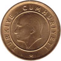 obverse of 1 Kuruş (2009 - 2017) coin with KM# 1239 from Turkey. Inscription: TÜRKİYE CUMHURİYETİ