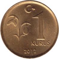 reverse of 1 Kuruş (2009 - 2017) coin with KM# 1239 from Turkey. Inscription: 1 KURUŞ 2009