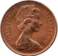obverse of 1 Penny - Elizabeth II - 2'nd Portrait (1982 - 1984) coin with KM# 927 from United Kingdom. Inscription: D · G · REG · F · D · 1984 ELIZABETH · II