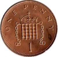 reverse of 1 Penny - Elizabeth II - 2'nd Portrait (1982 - 1984) coin with KM# 927 from United Kingdom. Inscription: ONE PENNY 1