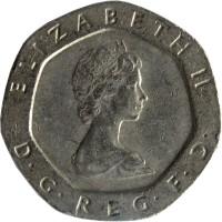 obverse of 20 Pence - Elizabeth II - 2'nd Portrait (1982 - 1984) coin with KM# 931 from United Kingdom. Inscription: ELIZABETH II D · G · REG · F · D ·