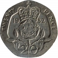 reverse of 20 Pence - Elizabeth II - 2'nd Portrait (1982 - 1984) coin with KM# 931 from United Kingdom. Inscription: TWENTY PENCE 19 82 20
