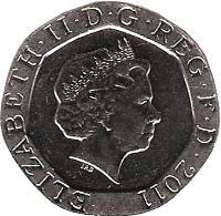 obverse of 20 Pence - Elizabeth II - 4'th Portrait (2008 - 2015) coin with KM# 1111 from United Kingdom. Inscription: ELIZABETH · II · D · G · REG · F · D · 2008 IRB