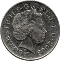 obverse of 10 Pence - Elizabeth II - Non magnetic; 4'th Portrait (2008 - 2011) coin with KM# 1110 from United Kingdom. Inscription: ELIZABETH · II · D · G REG · F · D · 2008 IRB
