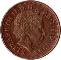 obverse of 2 Pence - Elizabeth II - Magnetic; 4'th Portrait (1998 - 2008) coin with KM# 987 from United Kingdom. Inscription: ELIZABETH · II · D · G REG · F · D · 2006 IRB