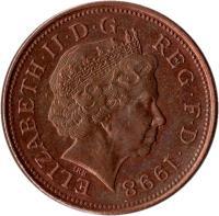 obverse of 2 Pence - Elizabeth II - Magnetic; 4'th Portrait (1998 - 2008) coin with KM# 987 from United Kingdom. Inscription: ELIZABETH · II · D · G REG · F · D · 2006 IRB